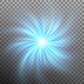 透明度のあるフレアライトのある星の効果。だけで透明な背景