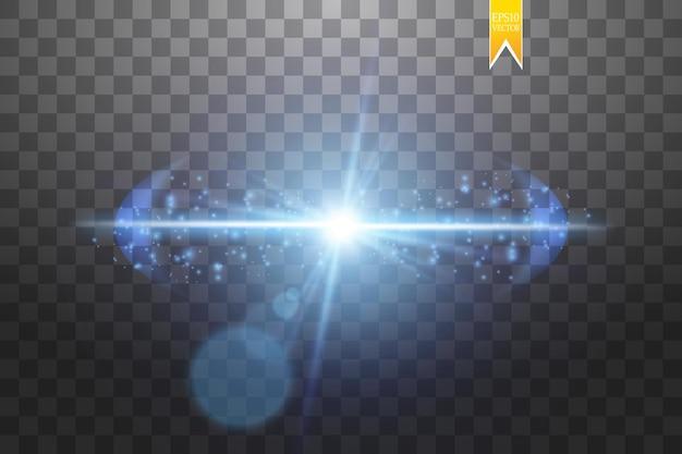 爆発の影響、粒子のさまざまな方向に飛んで、青いレンズを光らせます。