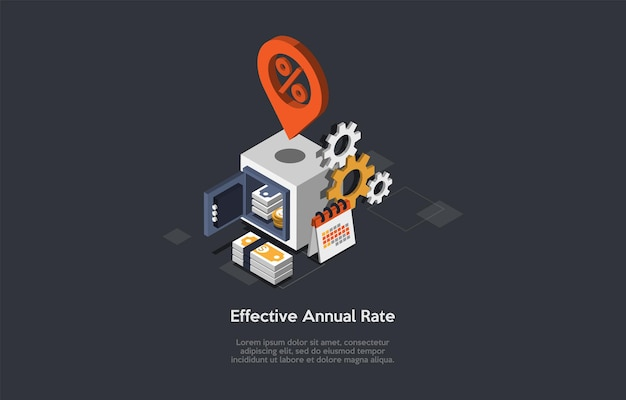 Effective annual rate conceptual illustration in cartoon 3d style.