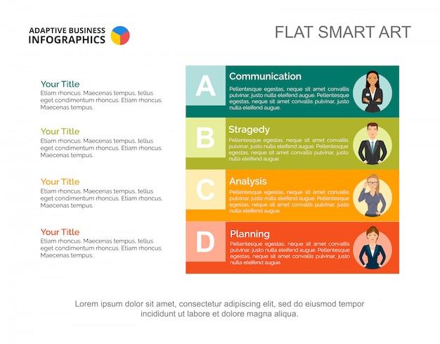 効果的なビジネススライドテンプレート。チャート。インフォグラフィック、レポートの創造的なコンセプト。