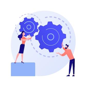 효과적인 코 워킹. 동료의 공생, 근로자의 협력, 팀워크 규정. 워크 플로우 효율성이 증가합니다. 메커니즘을 준비하는 팀원.