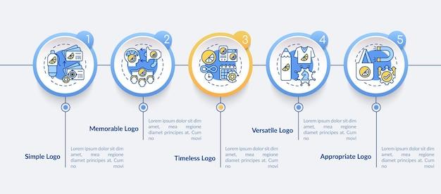 効果的なロゴデザインベクトルインフォグラフィックテンプレート。時代を超越したロゴタイプのプレゼンテーションのアウトラインデザイン要素。 5つのステップによるデータの視覚化。タイムライン情報チャートを処理します。ラインアイコンのワークフローレイアウト