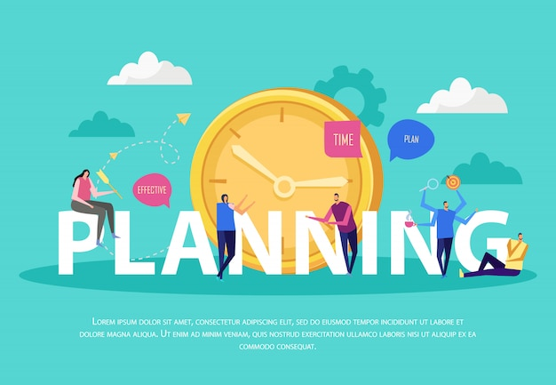 Effective management concept flat composition with text and doodle human characters cloud images and clock