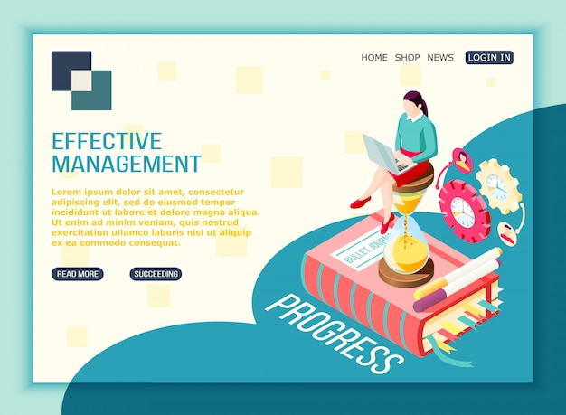 Effective management concept isometric landing page with editable text clickable buttons pictogram icons and conceptual images