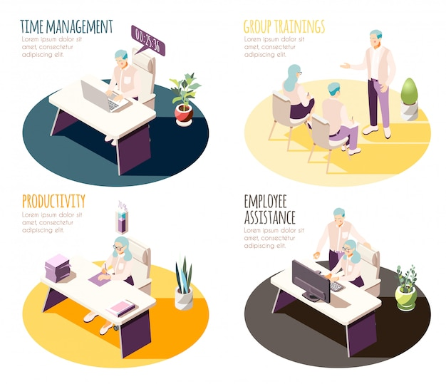 Effective management isometric 4x1 set of compositions with editable text and workplace spots with human characters