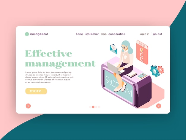 Effective management isometric landing page website design with female character at work icons and clickable links