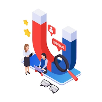 Effective marketing and attracting followers concept with isometric magnet and people 3d