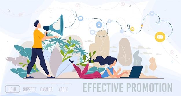 Effective promotion service flat  web banner