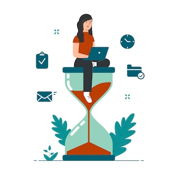 Effective time management concept with girl sitting on hourglass illustration
