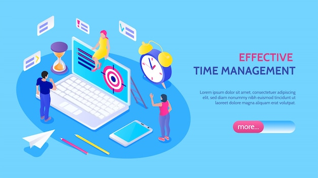 Effective time management horizontal banner with male and female characters alarm clock hourglass target isolated icons