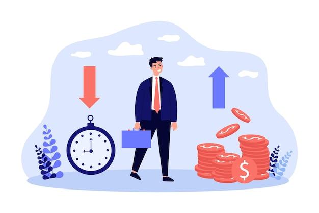 お金を稼ぐためのビジネスマンの効果的な時間管理。小さな文字フラットベクトルイラストの利益の経済的成長。バナー、ウェブサイトのデザイン、またはランディングウェブページの時は金なりの概念