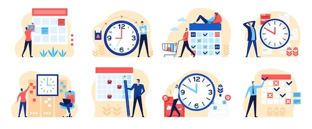 효과적인 시간 관리 시계와 달력을 가진 사람들 사업가 일정 작업 설정