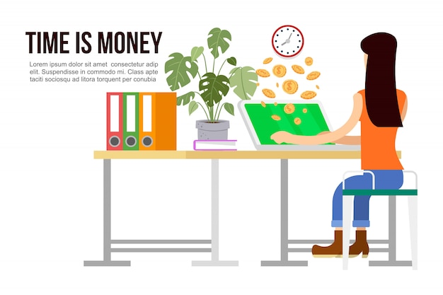 Effective time management, times is money cartoon illustration of working woman. time is money, organization. money coins go out of computer with working woman.