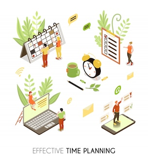 Pianificazione del tempo efficace sfondo isometrico con persone che fanno pianificazione aziendale e gestione ordinaria