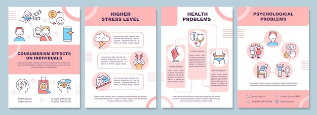 Effects of consumerism brochure template. psychological problems. flyer, booklet, leaflet print, cover design with linear icons. vector layouts for presentation, annual reports, advertisement pages