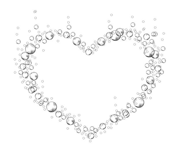 심장의 형태로 발포성 거품 프레임입니다. 비누 거품. 현실적인 발렌타인과 사랑의 상징입니다.