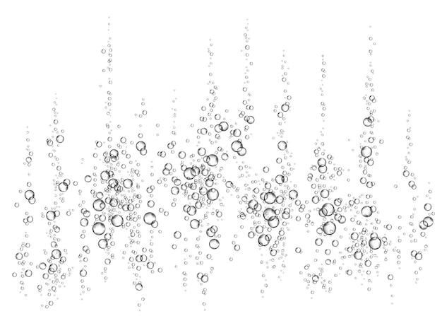 발포성 음료. 활기. 흰색 배경에 수중 fizzing 공기, 물 또는 산소 거품. 탄산수 반짝임 바다, 수족관. 소다팝.샴페인. 해저 벡터 텍스처입니다.
