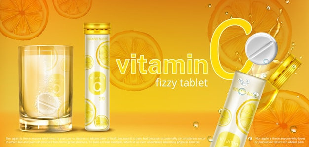 Effervescent soluble tablet with vitamin c in glass of water and container. vector realistic banner of fizzy pill, dissolving medicine drug with orange flavour.