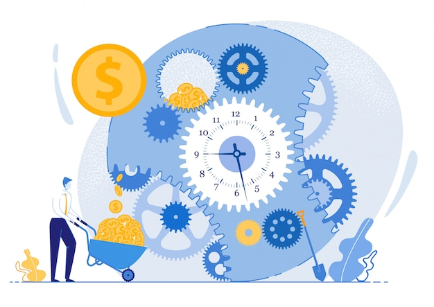 Efficiency working hours. man collects gold coins from huge clockwork into cart. assessment fact that goal. creative general outline actions. vector illustration.