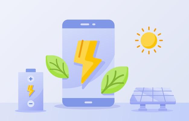 디스플레이 화면 태양 에너지 태양 흰색 격리 된 배경에 스마트 폰 개념 녹색 잎 번개를위한 효율적인 배터리