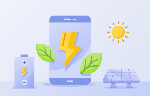 Efficient battery for smartphone concept green leaf lightning on display screen solar energy sun white isolated background