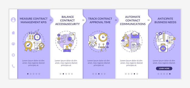 Efficient contract management tips onboarding  template. measure contract management kpis. responsive mobile website with icons. webpage walkthrough step screens. rgb color concept