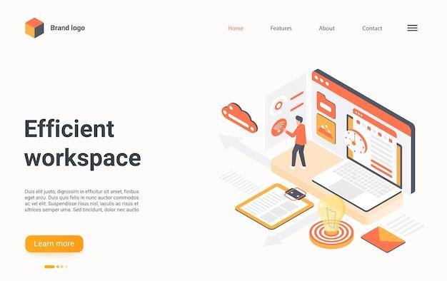 Efficient workplace management isometric landing page d workspace business optimization