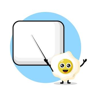 Egg becomes a teacher cute character mascot