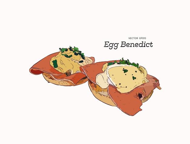 エッグベネディクト、朝食手描きスケッチ。