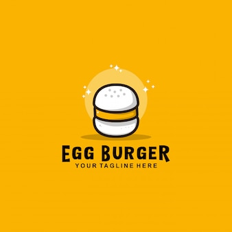 Egg burger logo with flat design