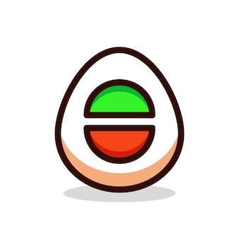 Egg button cartoon vector illustration