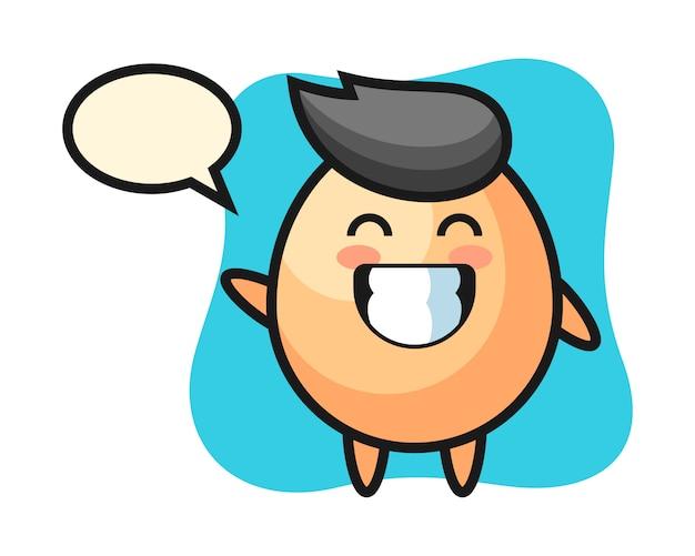 波の手ジェスチャー、tシャツ、ステッカー、ロゴの要素のかわいいスタイルを行う卵の漫画のキャラクター