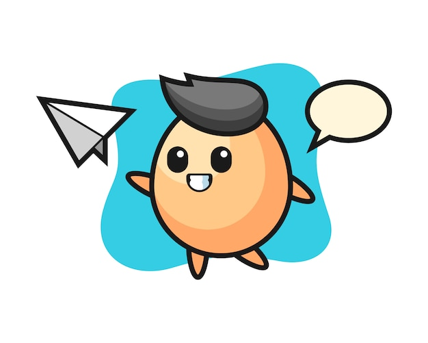 계란 만화 캐릭터 던지는 종이 비행기, 티셔츠, 스티커, 로고 요소에 대한 귀여운 스타일 디자인