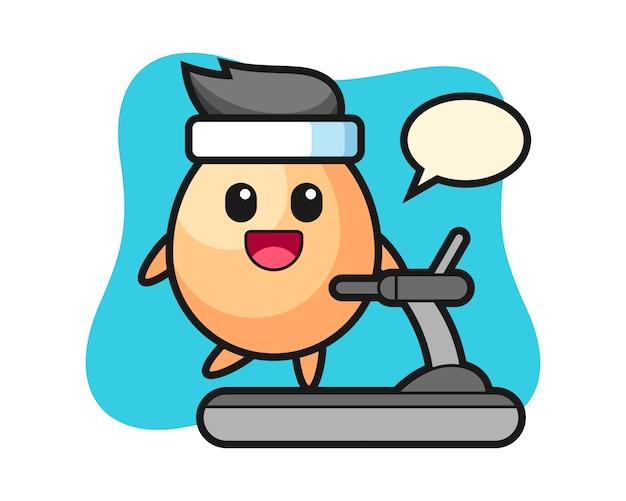トレッドミル、tシャツ、ステッカー、ロゴの要素のかわいいスタイルの上を歩く卵の漫画のキャラクター