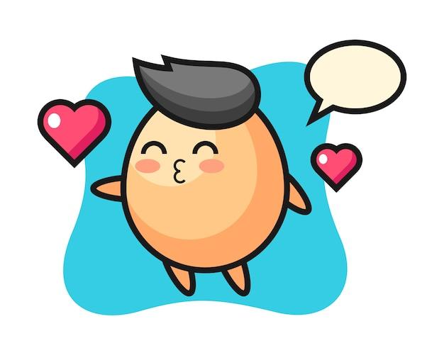 キスジェスチャー、tシャツ、ステッカー、ロゴの要素のかわいいスタイルの卵キャラクター漫画