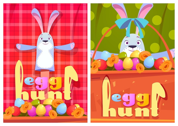 Egg hunt cartoon posters with rabbits and eggs