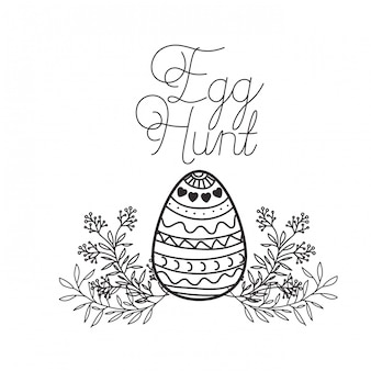 Egg hunt label isolated icon