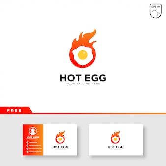 Egg logo with fire and business card template