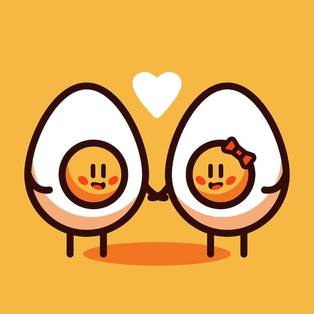 Egg in love cartoon vector illustration