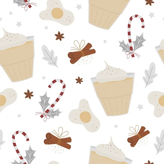 Egg nog seamless pattern. winter traditional warming drink. holiday hot beverage with egg, anise, cinnamon