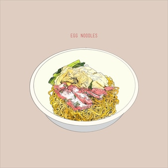 Egg noodles with red pork