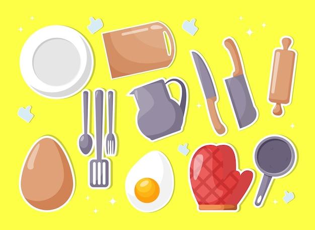卵製品とキッチン家具セット