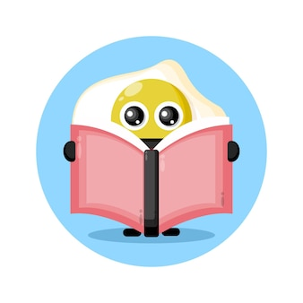 Egg reading a book cute character logo