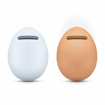 Egg shaped piggy bank icons