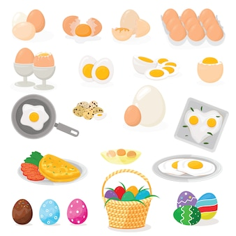 Egg vector easter food and healthy eggwhite or yolk in egg-cup or cooking omelette