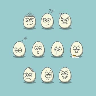 10のかわいい表情の卵、プレミアムイラストベクトル