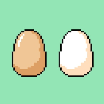 Egg with different color in pixel art style