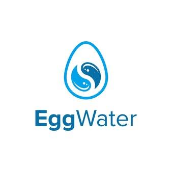 물방울과 음양 기호가 있는 계란 단순하고 매끄러운 창조적 기하학적 현대 로고 디자인