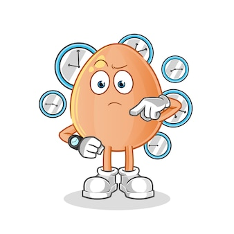 Egg with wristwatch cartoon. cartoon mascot