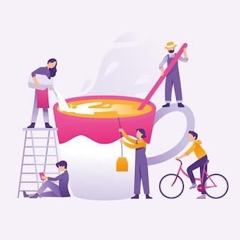 Люди как команда, делающие eggnog вместе